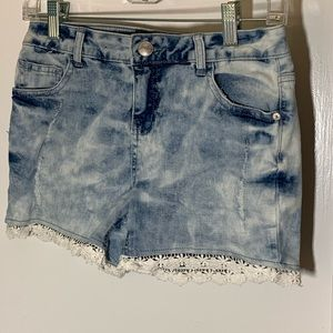 Girls stone washed jean shorts
